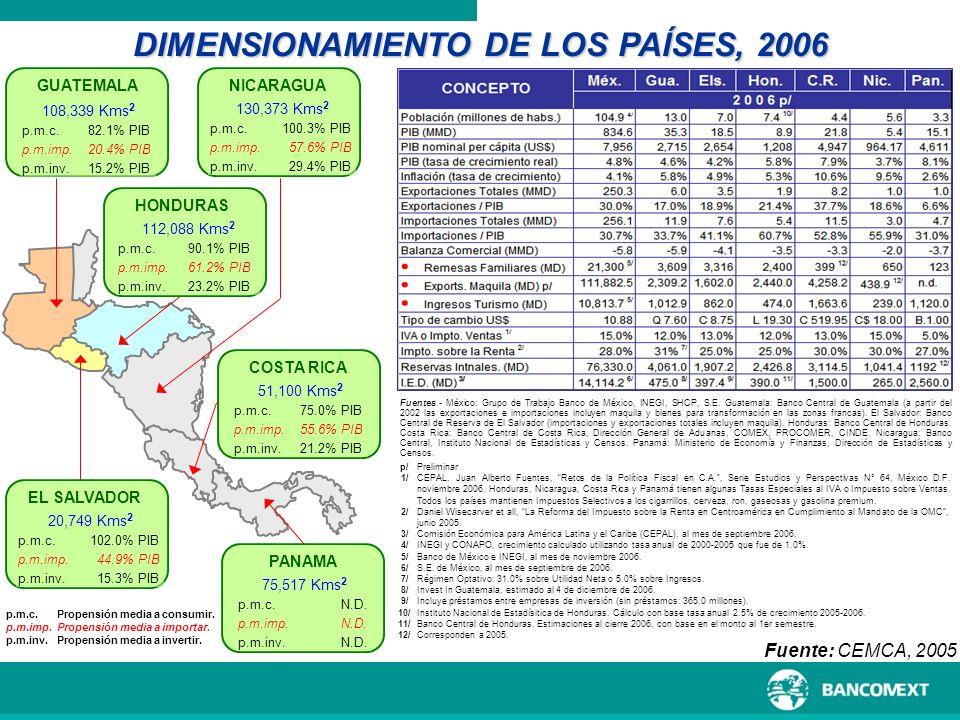 DIMENSIONAMIENTO DE LOS PAÍSES, 2006