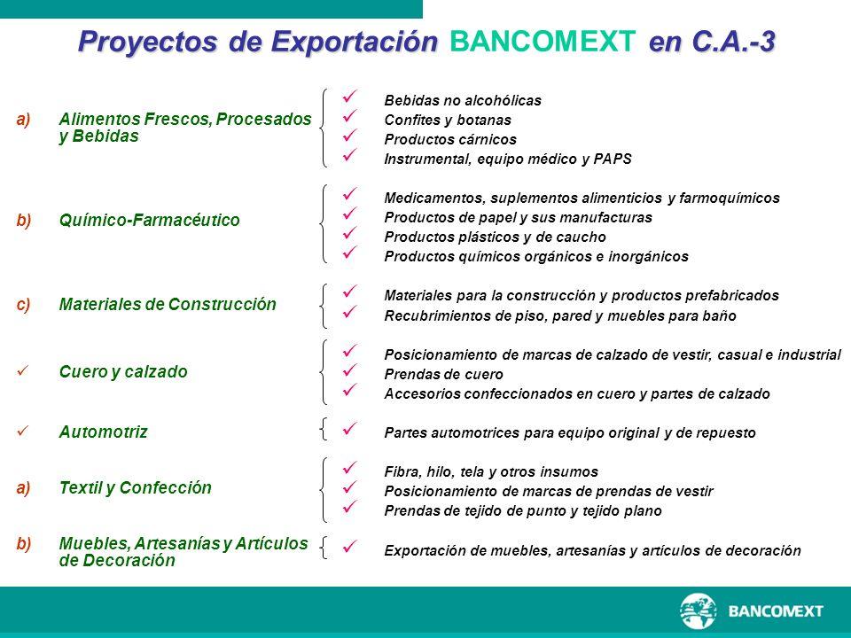 Proyectos de Exportación BANCOMEXT en C.A.-3