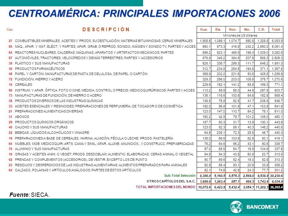 CENTROAMÉRICA: PRINCIPALES IMPORTACIONES 2006