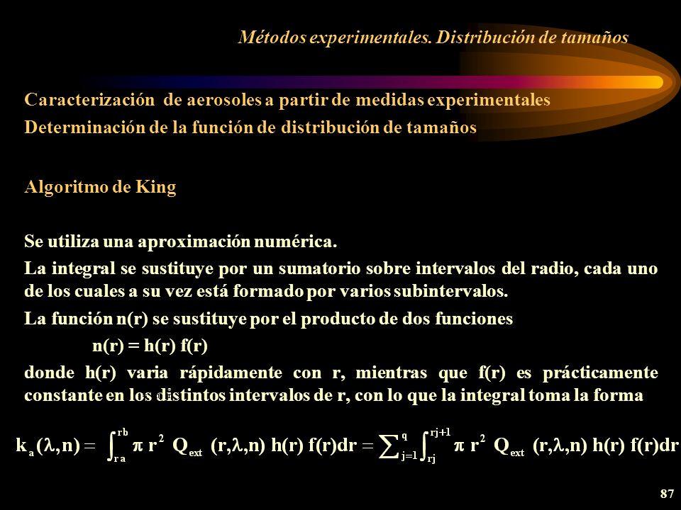 Métodos experimentales. Distribución de tamaños