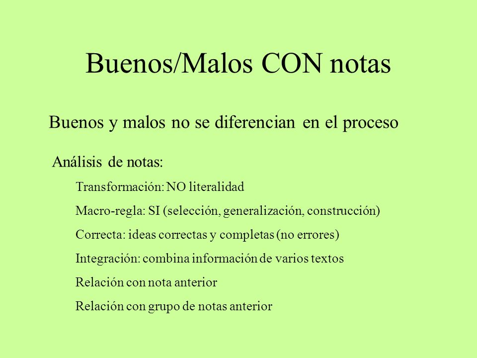 Buenos/Malos CON notas