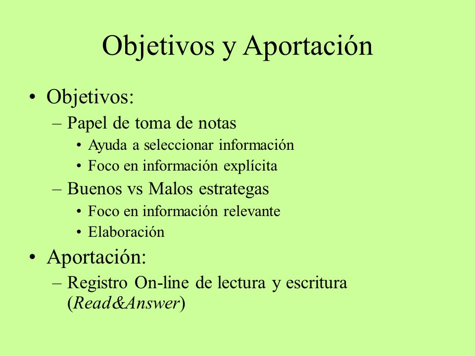 Objetivos y Aportación