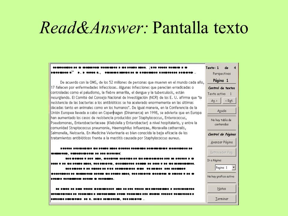 Read&Answer: Pantalla texto
