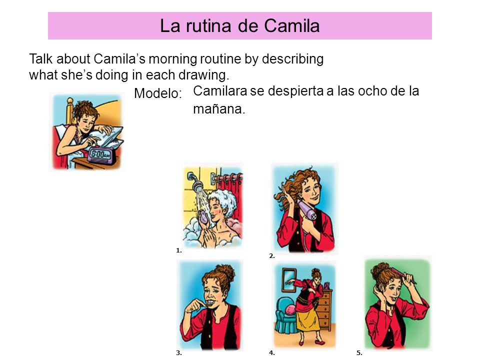 La rutina de Camila Talk about Camila's morning routine by describing what she's doing in each drawing.