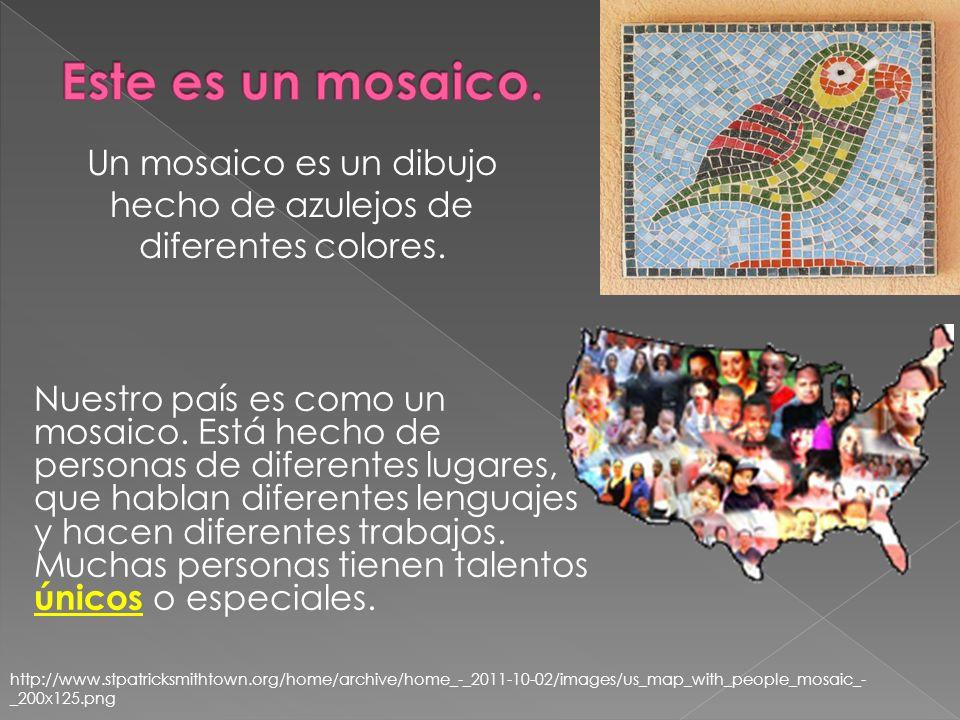 Un mosaico es un dibujo hecho de azulejos de diferentes colores.