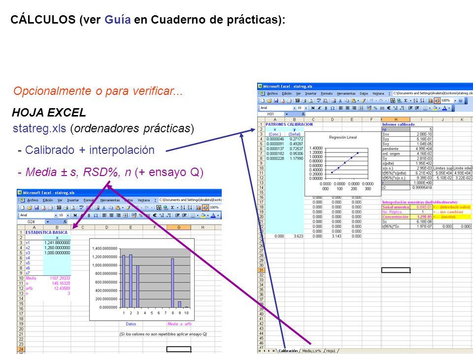 CÁLCULOS (ver Guía en Cuaderno de prácticas):