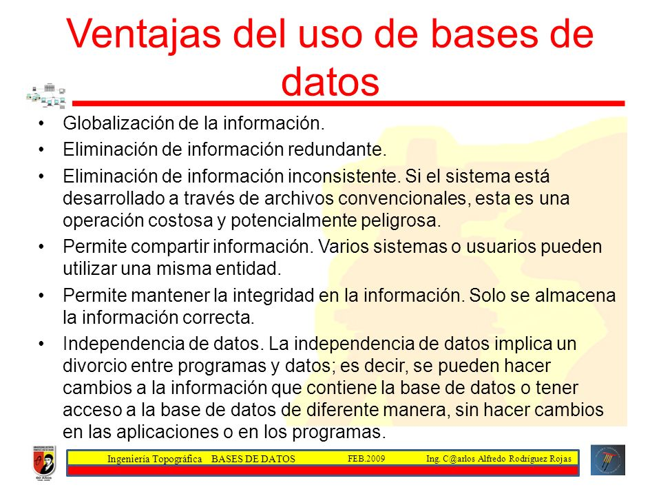 Ventajas del uso de bases de datos