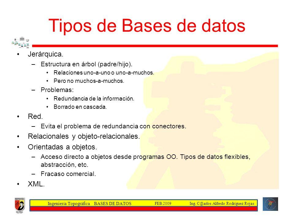 Tipos de Bases de datos Jerárquica. Red.