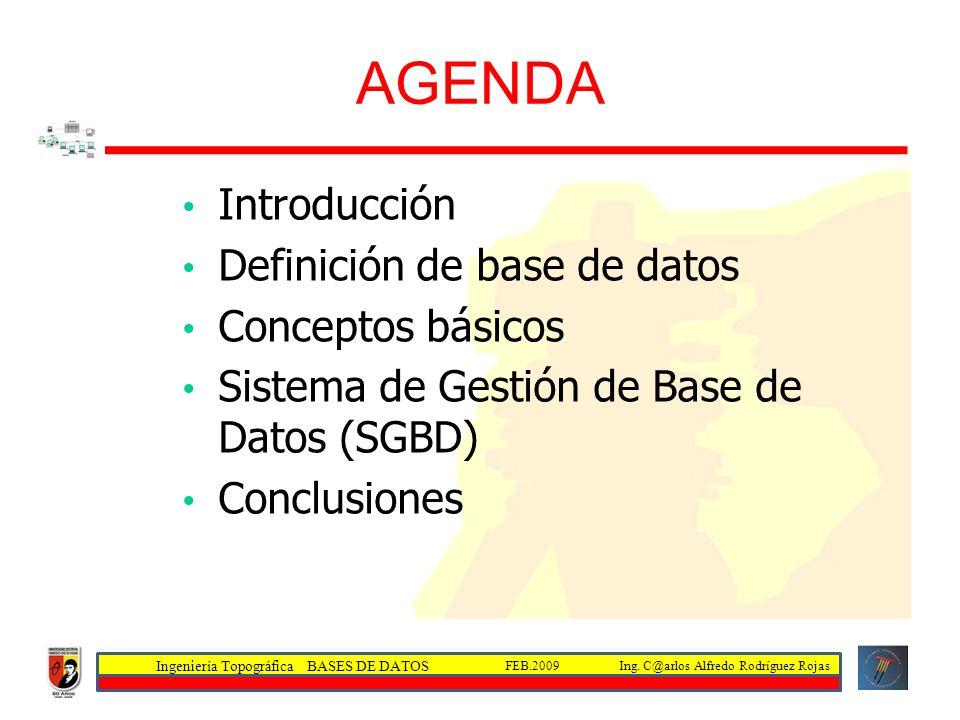 AGENDA Introducción Definición de base de datos Conceptos básicos