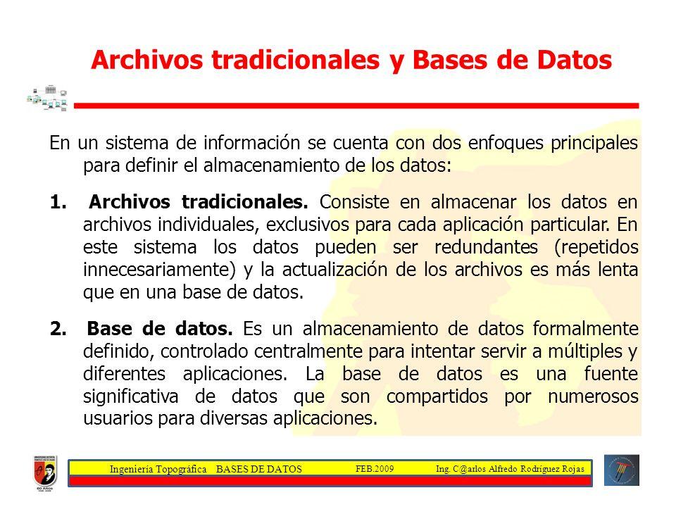 Archivos tradicionales y Bases de Datos