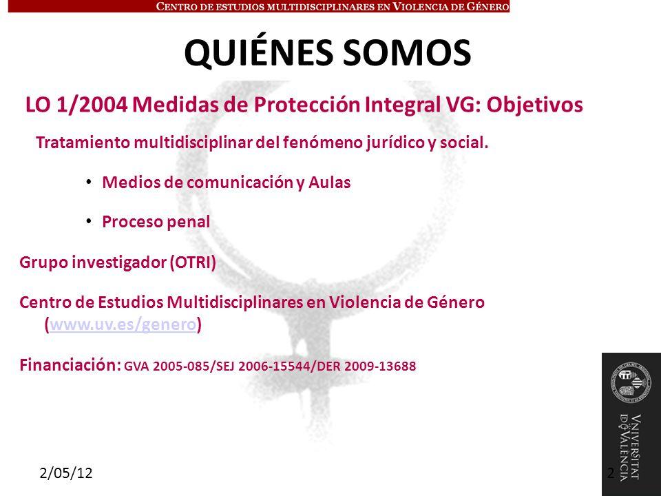 QUIÉNES SOMOS LO 1/2004 Medidas de Protección Integral VG: Objetivos