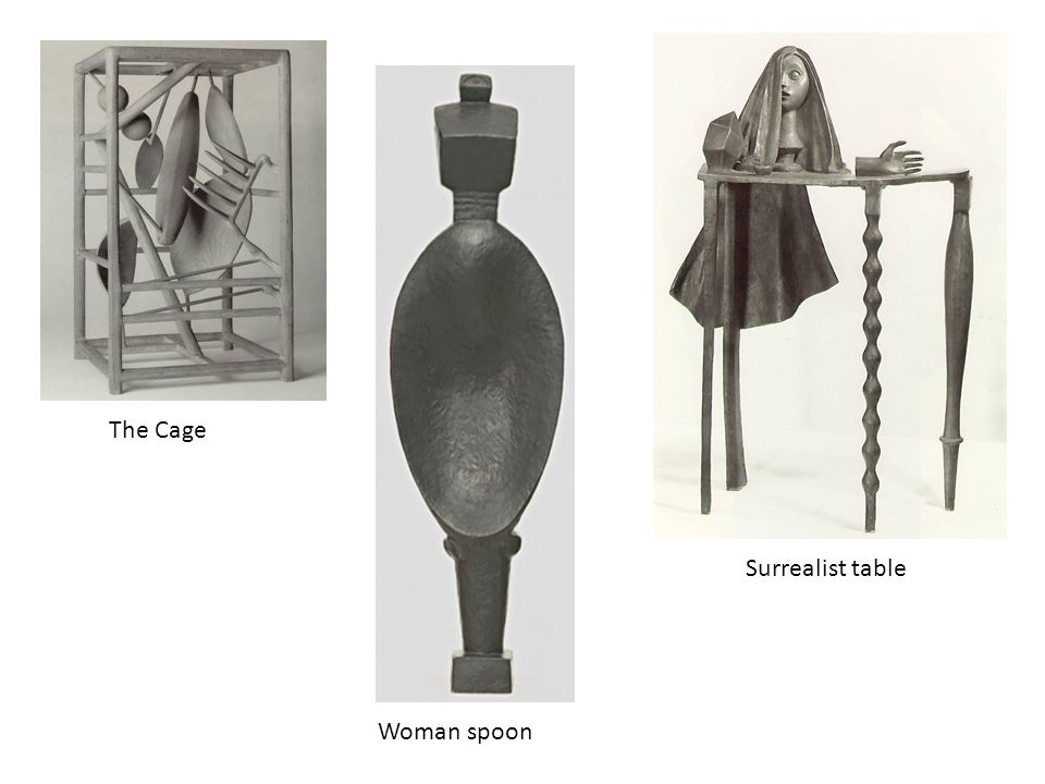 The Cage Surrealist table Woman spoon