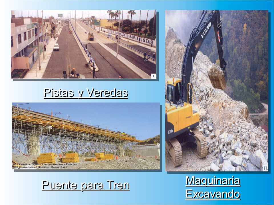 Pistas y Veredas Puente para Tren Maquinaria Excavando