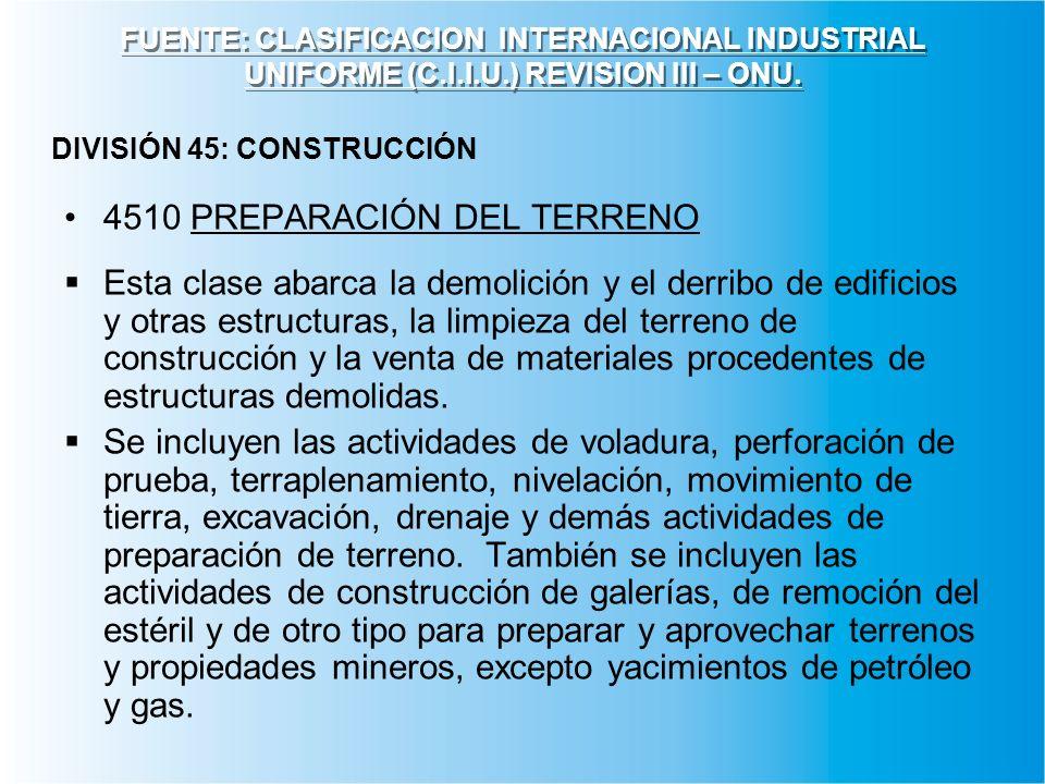 4510 PREPARACIÓN DEL TERRENO