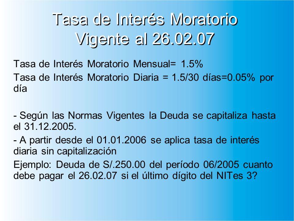 Tasa de Interés Moratorio Vigente al 26.02.07