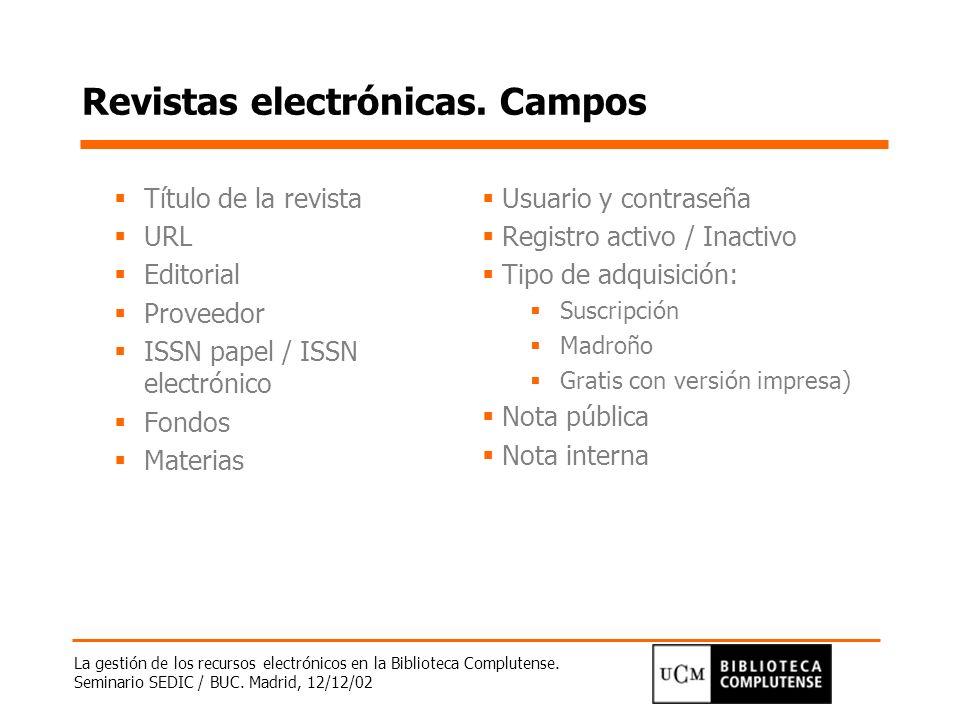 Revistas electrónicas. Campos