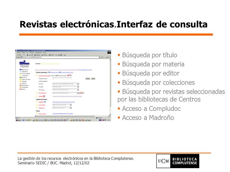 Revistas electrónicas.Interfaz de consulta