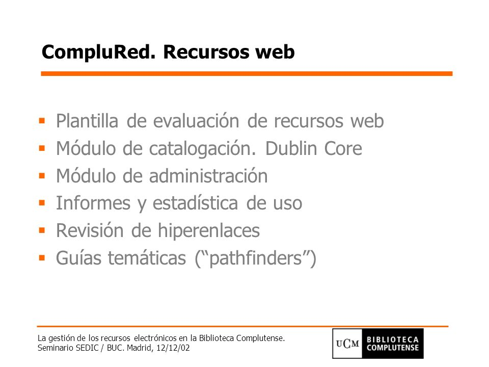 CompluRed. Recursos web