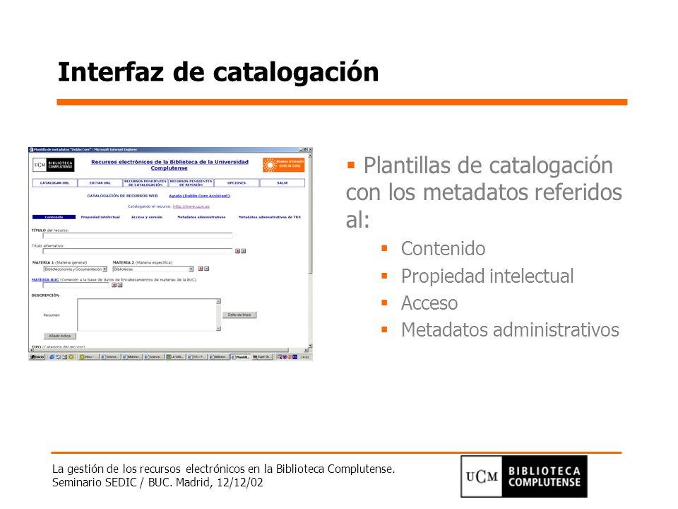Interfaz de catalogación