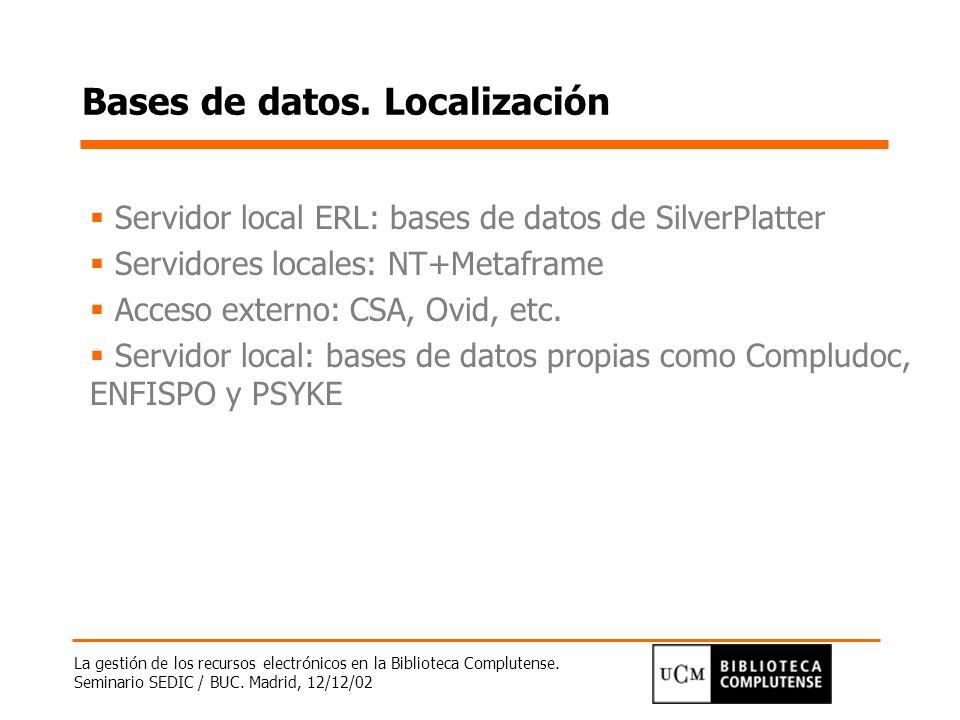Bases de datos. Localización