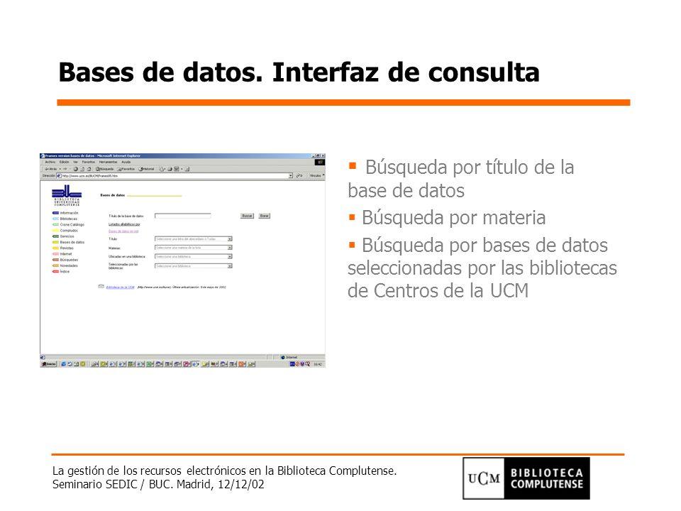 Bases de datos. Interfaz de consulta