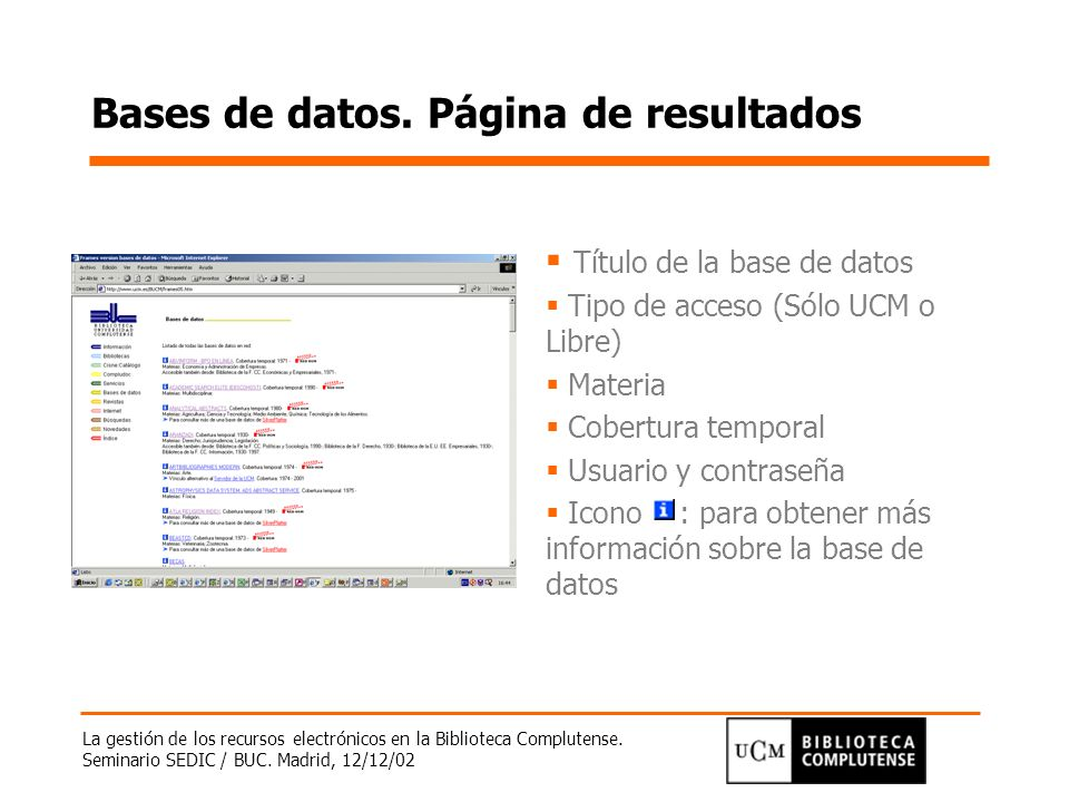 Bases de datos. Página de resultados