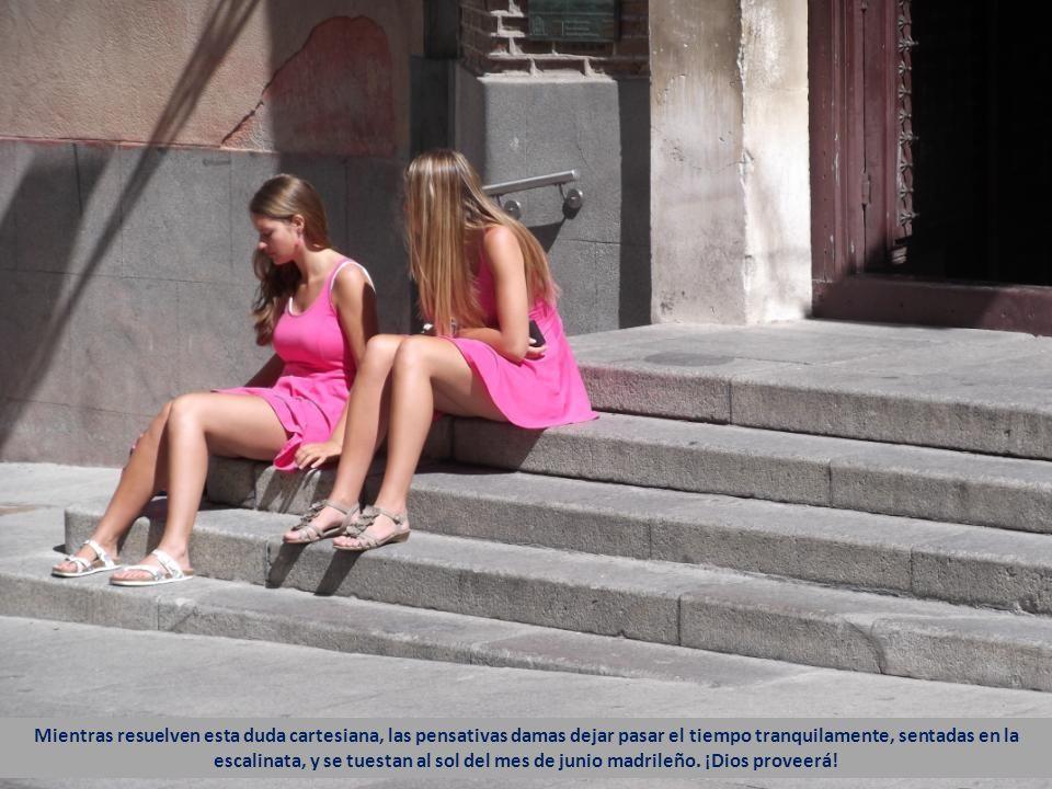 Mientras resuelven esta duda cartesiana, las pensativas damas dejar pasar el tiempo tranquilamente, sentadas en la escalinata, y se tuestan al sol del mes de junio madrileño.