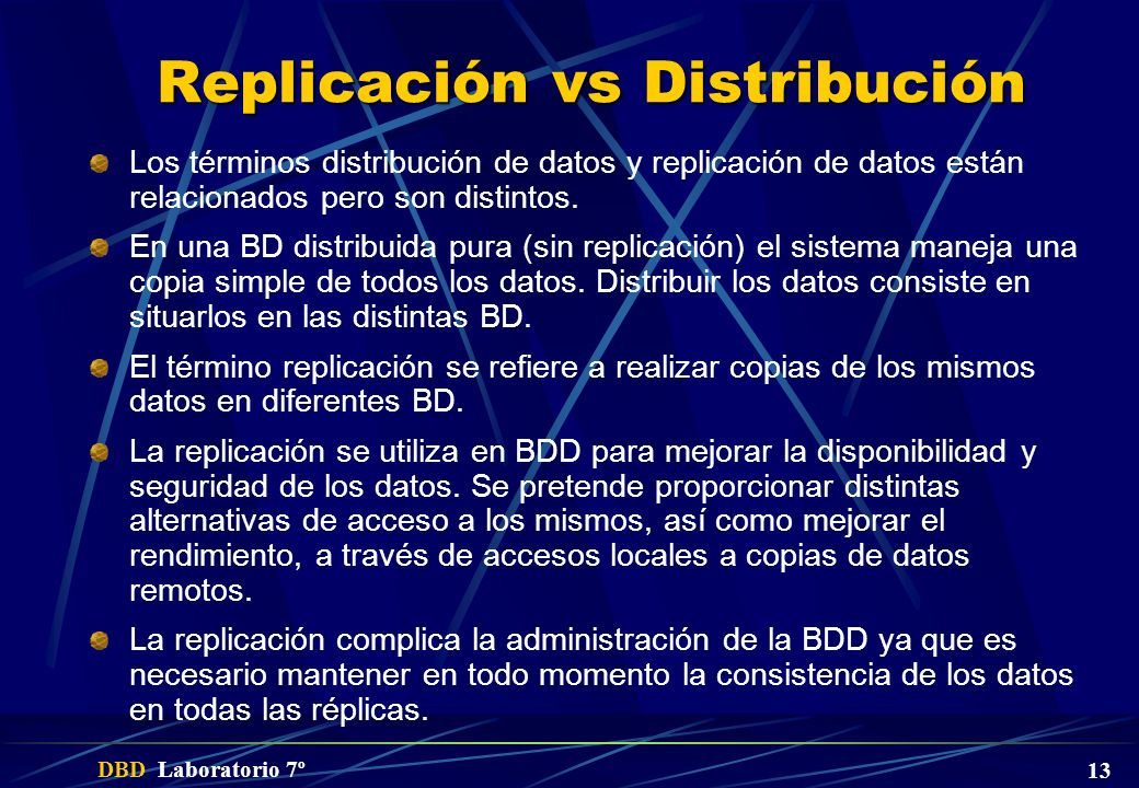 Replicación vs Distribución