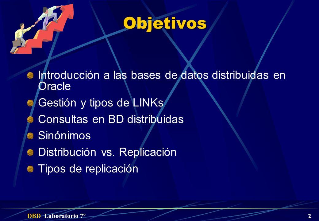 Objetivos Introducción a las bases de datos distribuidas en Oracle