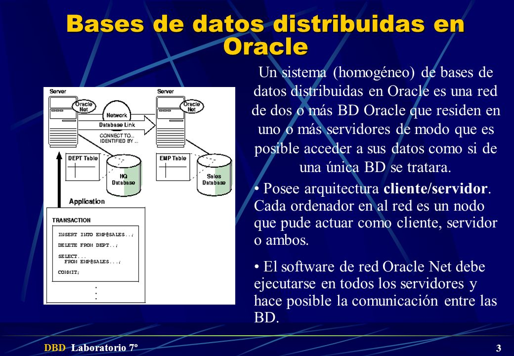 Bases de datos distribuidas en Oracle
