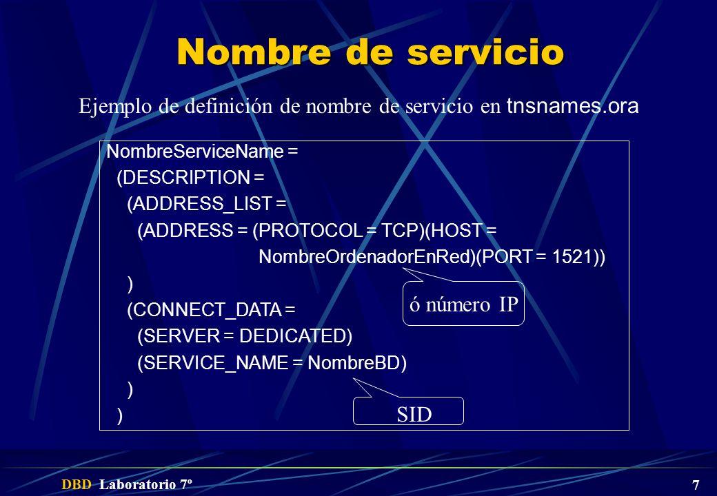 Nombre de servicio Ejemplo de definición de nombre de servicio en tnsnames.ora. NombreServiceName =