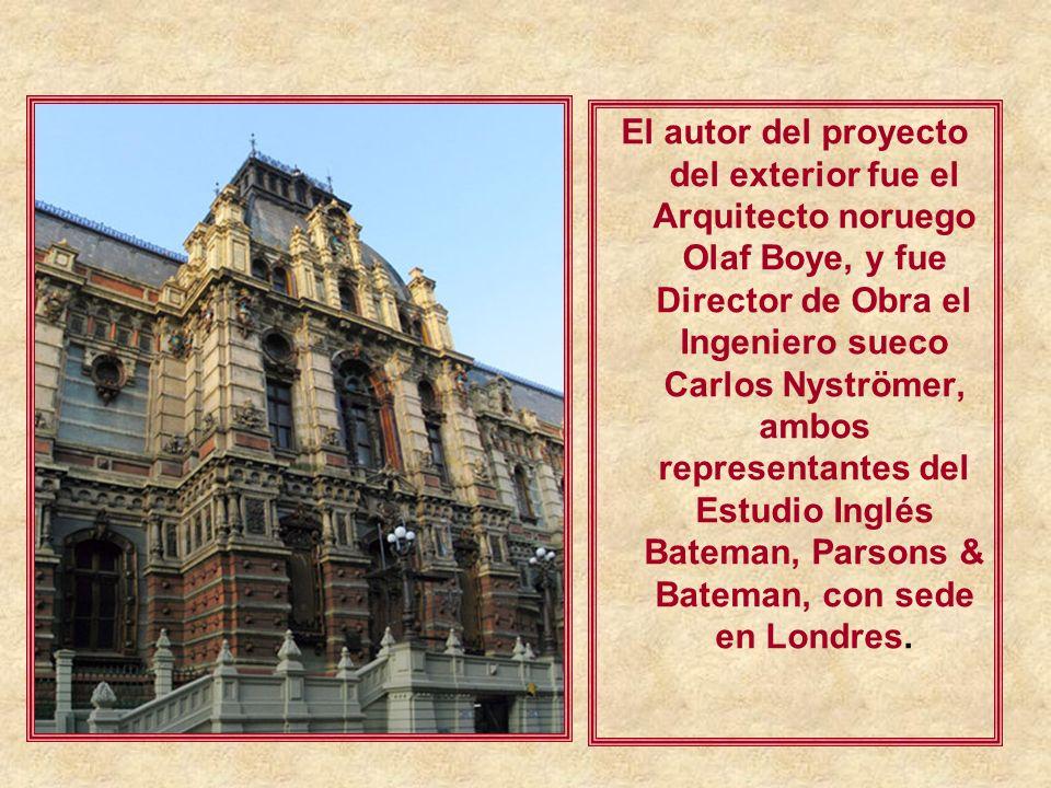El autor del proyecto del exterior fue el Arquitecto noruego Olaf Boye, y fue Director de Obra el Ingeniero sueco Carlos Nyströmer, ambos representantes del Estudio Inglés Bateman, Parsons & Bateman, con sede en Londres.