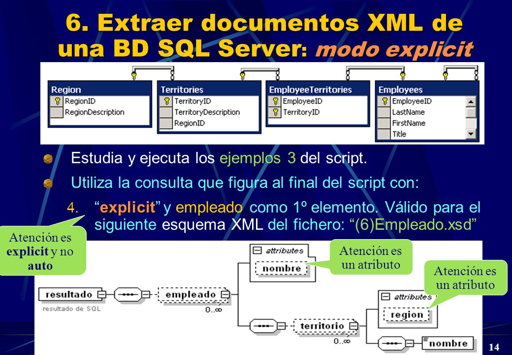 6. Extraer documentos XML de una BD SQL Server: modo explicit