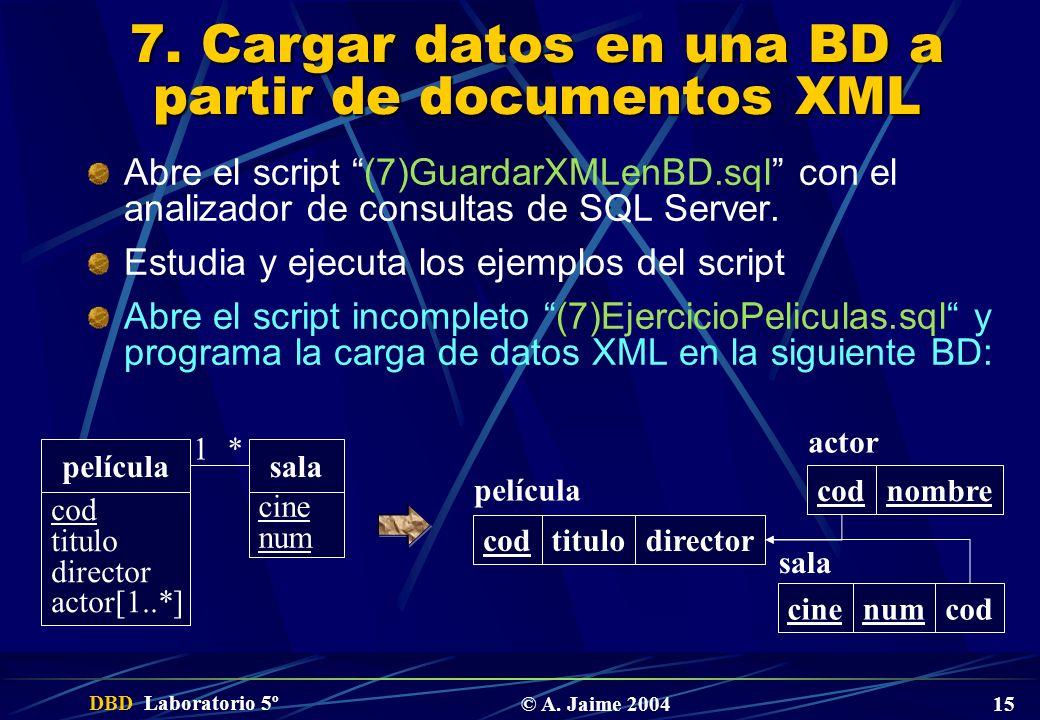 7. Cargar datos en una BD a partir de documentos XML