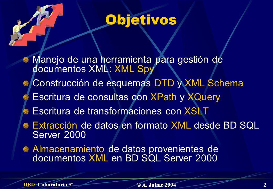 Objetivos Manejo de una herramienta para gestión de documentos XML: XML Spy. Construcción de esquemas DTD y XML Schema.