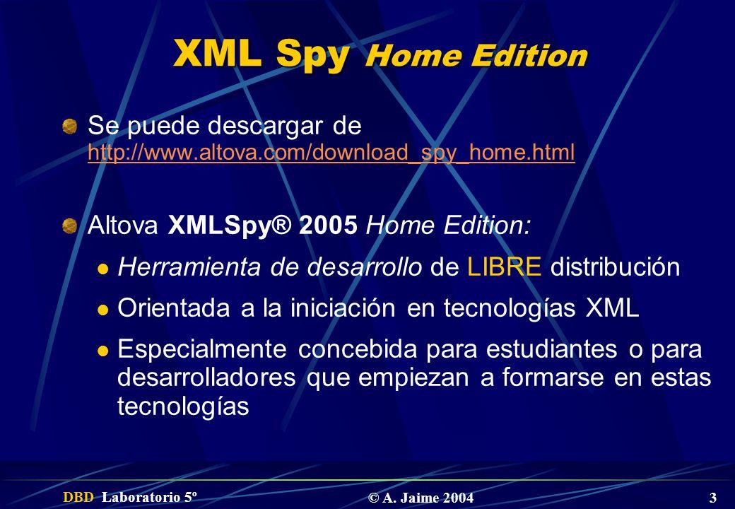 XML Spy Home EditionSe puede descargar de http://www.altova.com/download_spy_home.html. Altova XMLSpy® 2005 Home Edition: