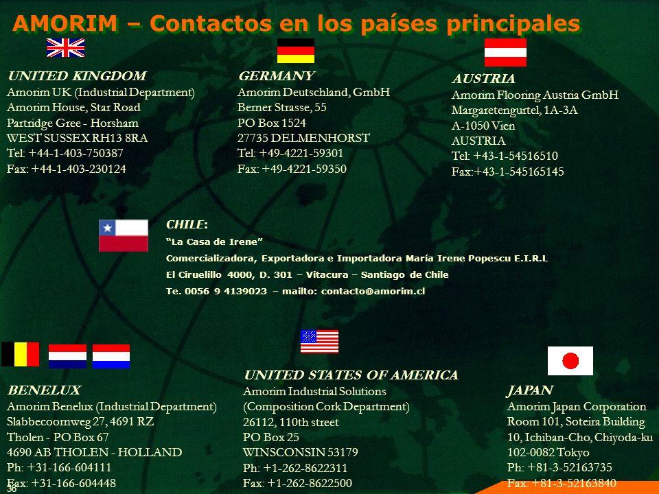 AMORIM – Contactos en los países principales