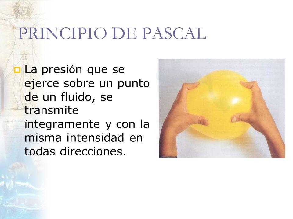 PRINCIPIO DE PASCAL La presión que se ejerce sobre un punto de un fluido, se transmite íntegramente y con la misma intensidad en todas direcciones.