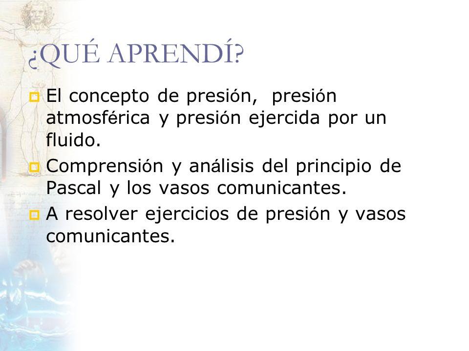 ¿QUÉ APRENDÍ El concepto de presión, presión atmosférica y presión ejercida por un fluido.