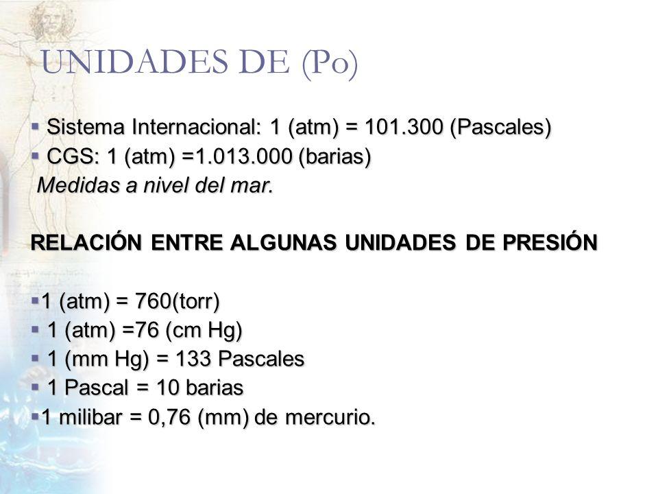 UNIDADES DE (Po) Sistema Internacional: 1 (atm) = 101.300 (Pascales)
