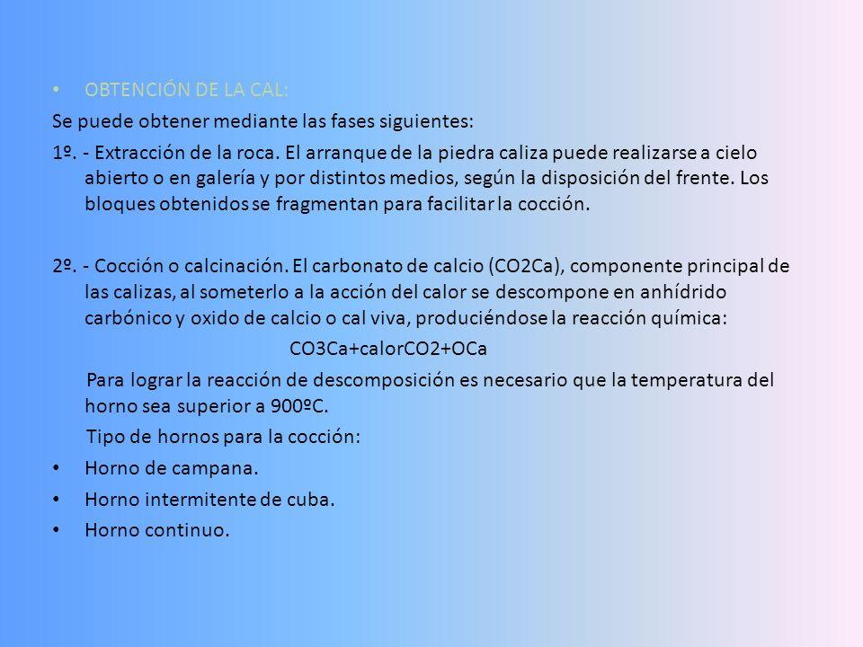 OBTENCIÓN DE LA CAL: Se puede obtener mediante las fases siguientes: