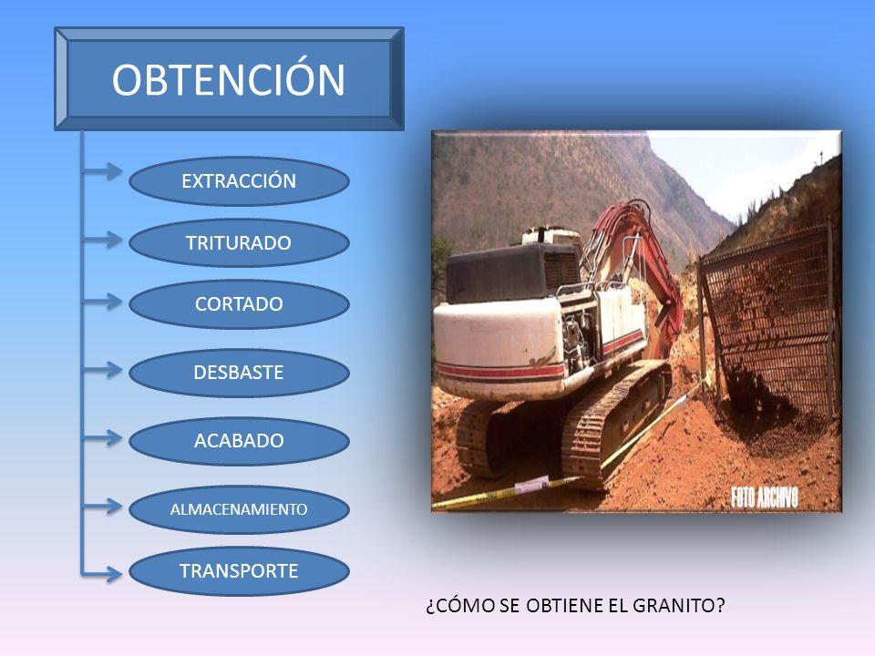 OBTENCIÓN EXTRACCIÓN TRITURADO CORTADO DESBASTE ACABADO TRANSPORTE