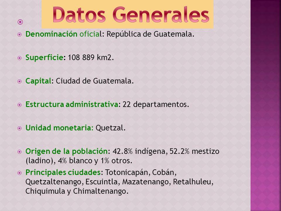 Datos Generales Denominación oficial: República de Guatemala.