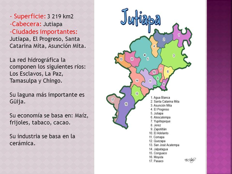- Superficie: 3 219 km2 Cabecera: Jutiapa