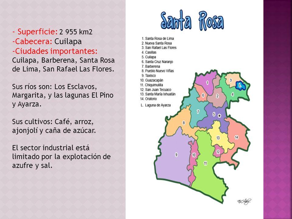 - Superficie: 2 955 km2 Cabecera: Cuilapa