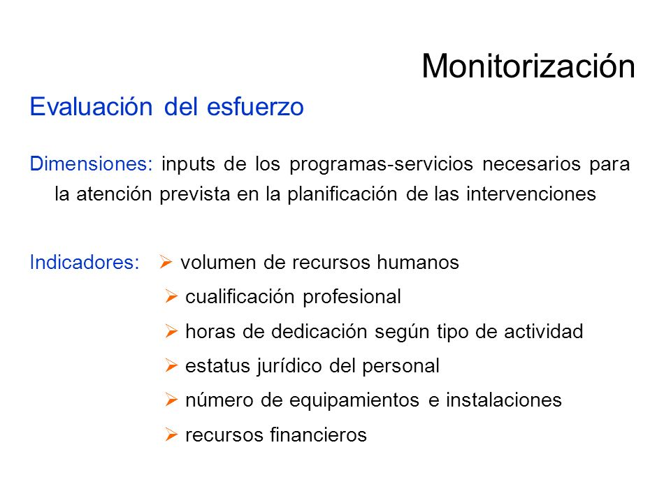 Monitorización Evaluación del esfuerzo