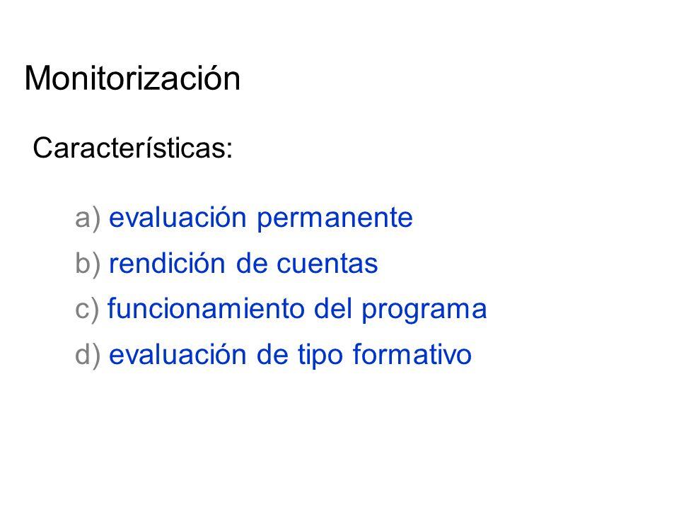 Monitorización Características: a) evaluación permanente