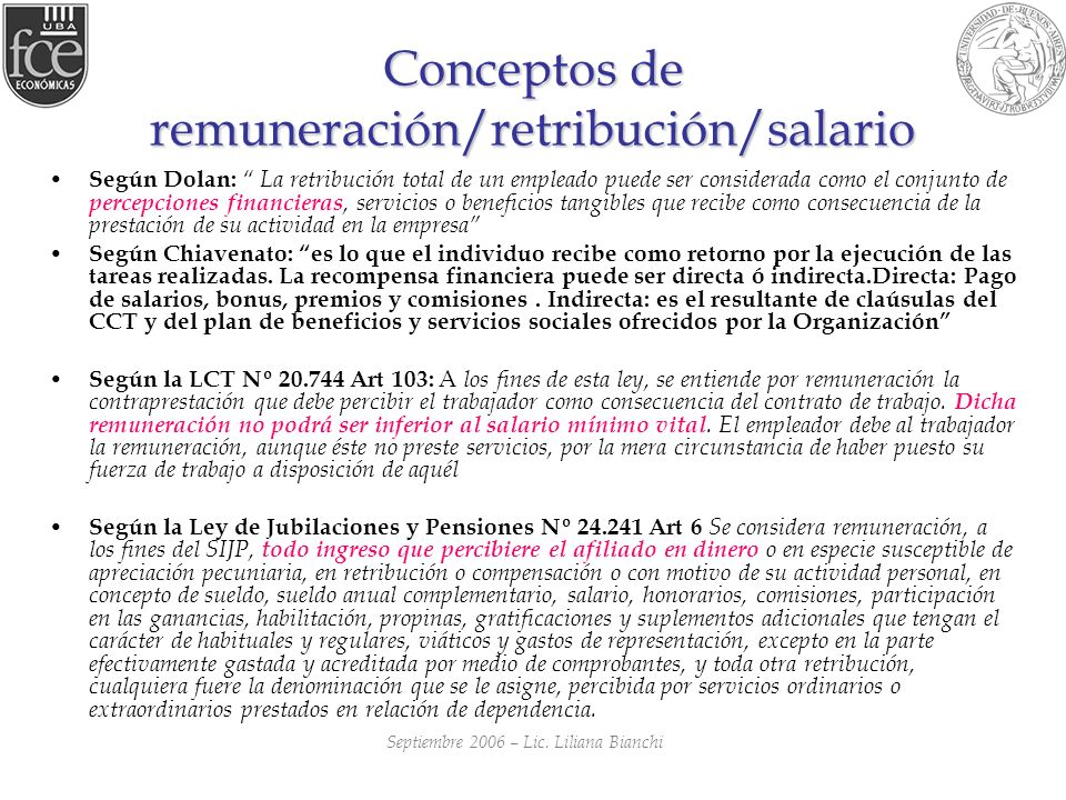 Conceptos de remuneración/retribución/salario