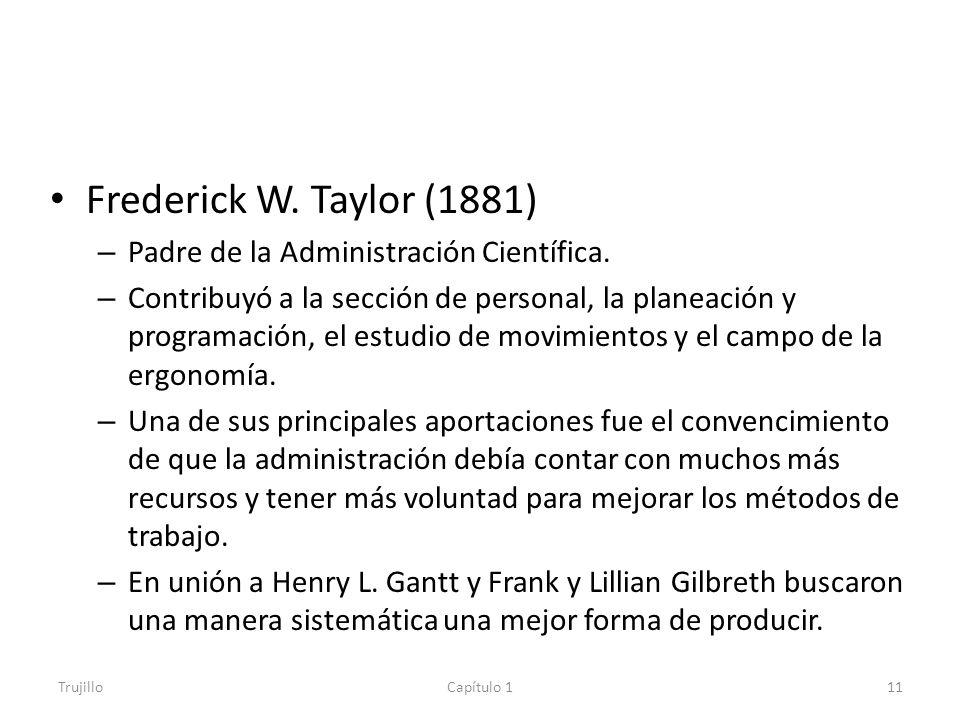 Frederick W. Taylor (1881) Padre de la Administración Científica.