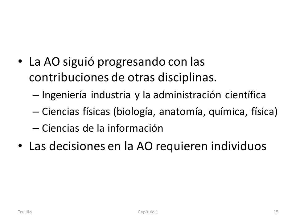 La AO siguió progresando con las contribuciones de otras disciplinas.
